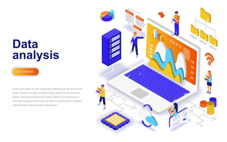 Concept isométrique de design plat moderne d'analyse de données. Analytique et concept de personnes. Modèle de page de destination. vecteur
