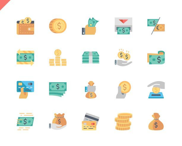 Simple Set Money Flat Icons pour site Web et applications mobiles. 48x48 Pixel Parfait. Illustration vectorielle vecteur