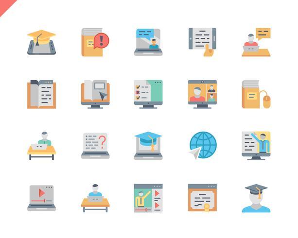 Simple Set Online Education Icônes plates pour site Web et applications mobiles. 48x48 Pixel Parfait. Illustration vectorielle vecteur