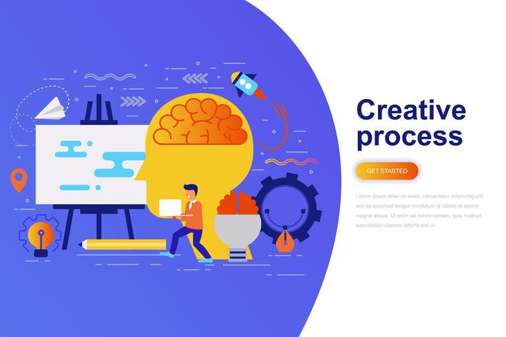 Bannière web concept plat moderne processus créatif avec le caractère décoré de petites personnes. Modèle de page de destination. vecteur