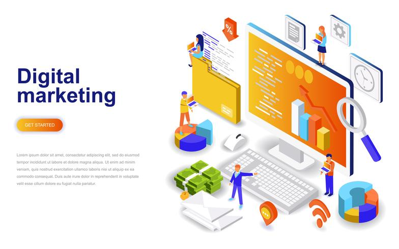 Concept isométrique de design plat moderne marketing numérique. Concept de publicité et de personnes. Modèle de page de destination. vecteur