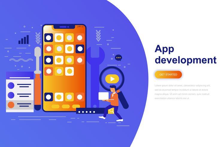 Bannière web App développement moderne concept plat avec caractère décoré de petites personnes. Modèle de page de destination. vecteur