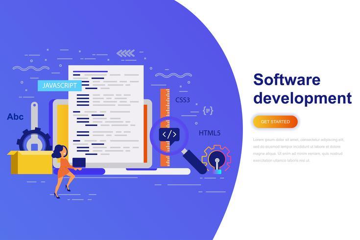Bannière web de développement logiciel concept plat moderne avec le personnage décoré de petites personnes. Modèle de page de destination. vecteur