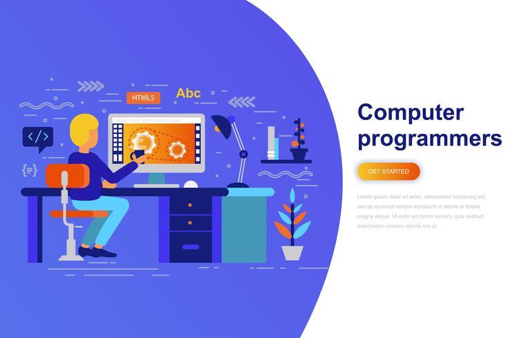 Bannière web concept plat moderne programmeurs d'ordinateur avec le caractère décoré de petites personnes Modèle de page de destination. vecteur