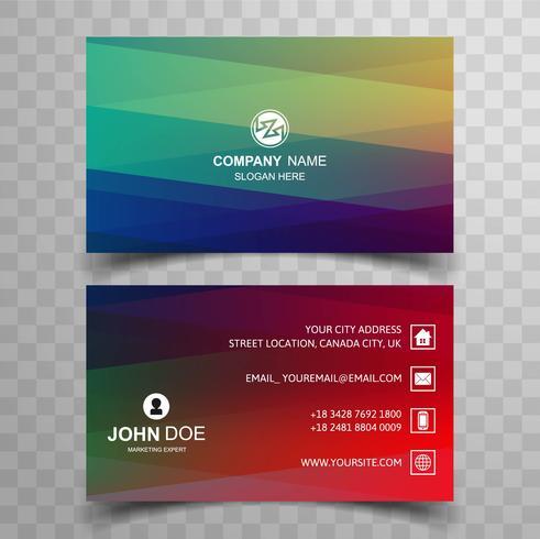 Modèle de carte de visite coloré abstrait vague élégante vecteur
