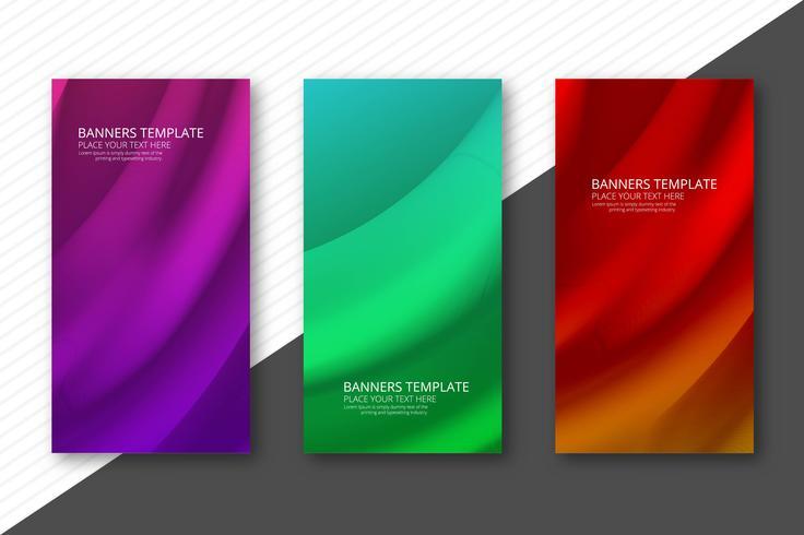 Scénographie de bannières colorées ondulées abstraites vecteur