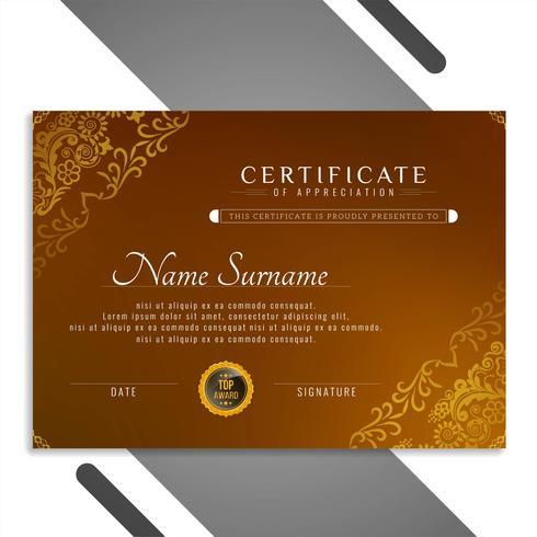 Modèle de certificat abstrait beau vecteur