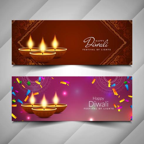 Abstrait beau jeu de bannières Diwali heureux vecteur