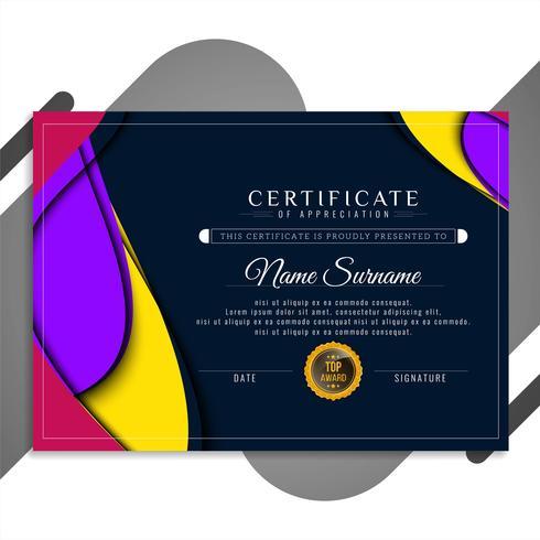 Modèle de certificat abstrait ondulé coloré vecteur