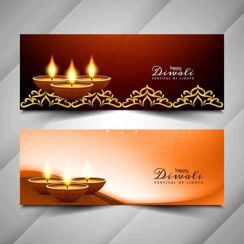 Jeu de bannières festival Happy Diwali abstraite vecteur