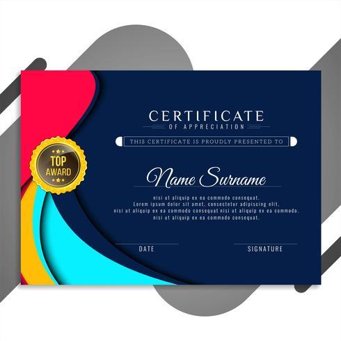 Modèle de certificat abstrait ondulé élégant vecteur