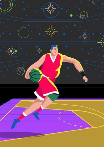 Course de dribble de basket vecteur