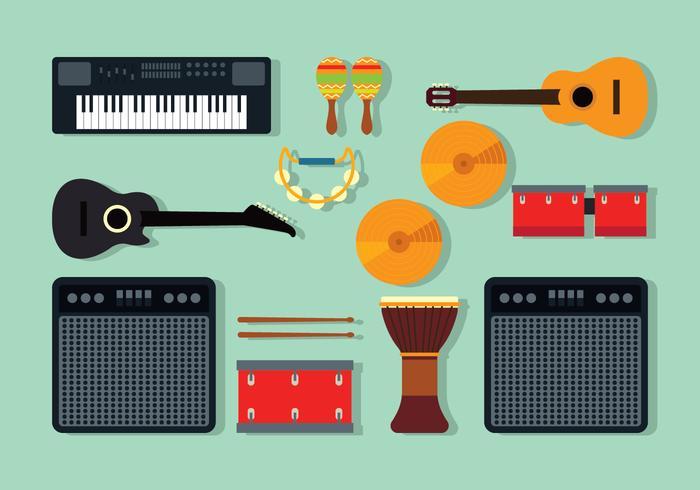 Instruments de musique Knolling vecteur