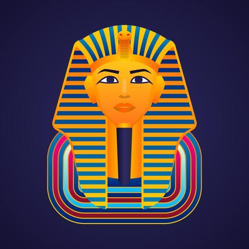 Pharaons d'or égyptiens masque icône illustration vectorielle vecteur