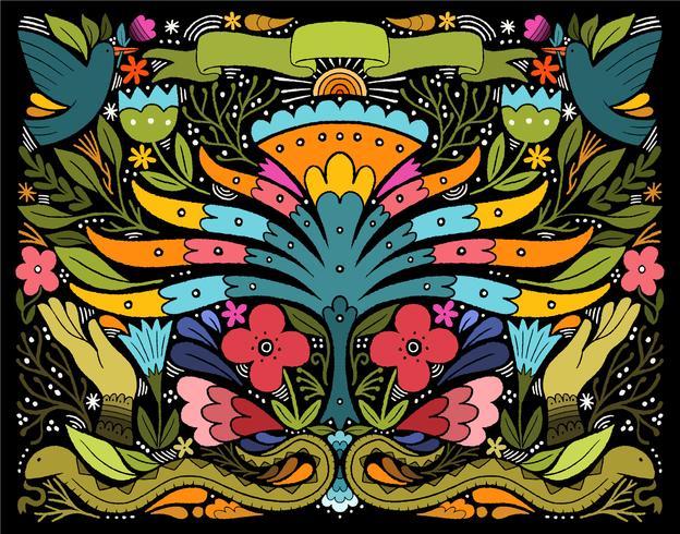 collage animal floral vecteur