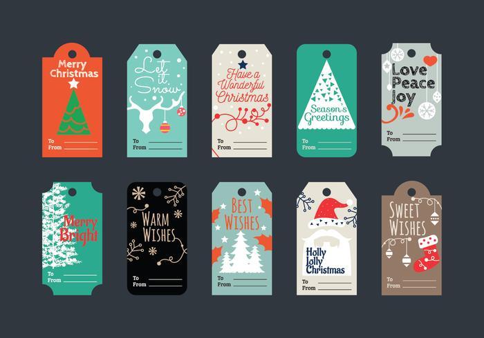 Minimaliste et magnifique ensemble d'étiquettes de cadeaux de Noël pour les voeux de Noël vecteur