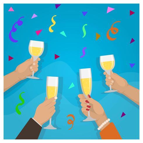 Célébration de Toast Champagne plat avec des amis Illustration vectorielle vecteur