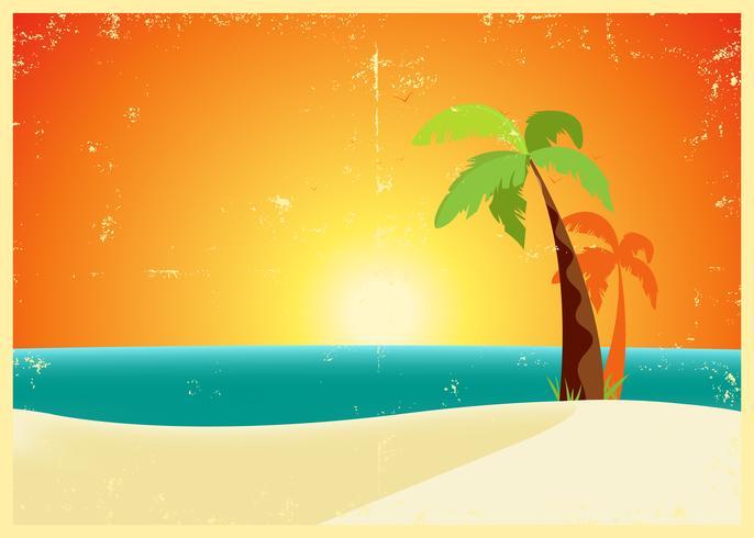 Affiche de plage tropicale grunge vecteur