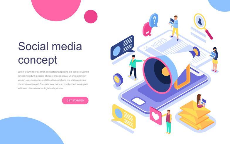 Concept isométrique moderne design plat de médias sociaux pour bannière et site Web. Modèle de page de destination. Communication virtuelle et partage multimédia. Illustration vectorielle vecteur