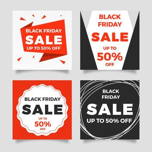 Modèle de vecteur de Post Social Media vente Black Friday vente