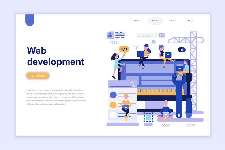 Modèle de page d'atterrissage du concept de design plat moderne pour le développement web. Concept d'apprentissage et de personnes. Illustration vectorielle plat conceptuel pour la page Web, site Web et site Web mobile. vecteur