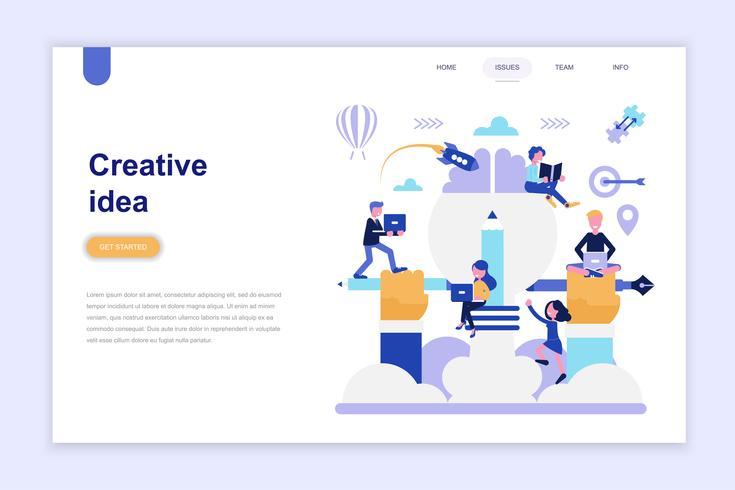 Modèle de page d'atterrissage du concept de design plat moderne idée créative. Concept d'apprentissage et de personnes. Illustration vectorielle plat conceptuel pour la page Web, site Web et site Web mobile. vecteur