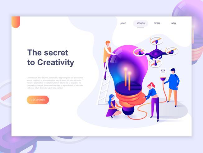 Modèle de page d'atterrissage du processus de création et de brainstorming. Concept isométrique 3D de conception de page Web pour site Web et site Web mobile. Illustration vectorielle vecteur