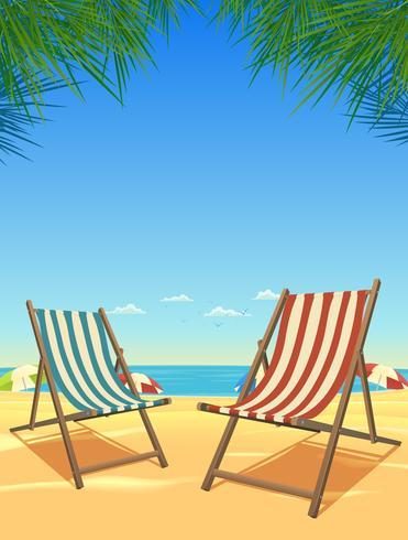Fond de plage et chaises d'été vecteur