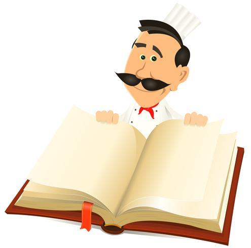 Livre de recettes de chef cuisinier vecteur