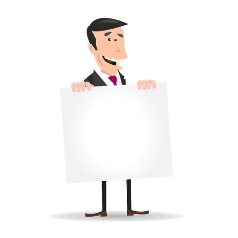 Homme d'affaires blanc tenant une pancarte blanche vecteur