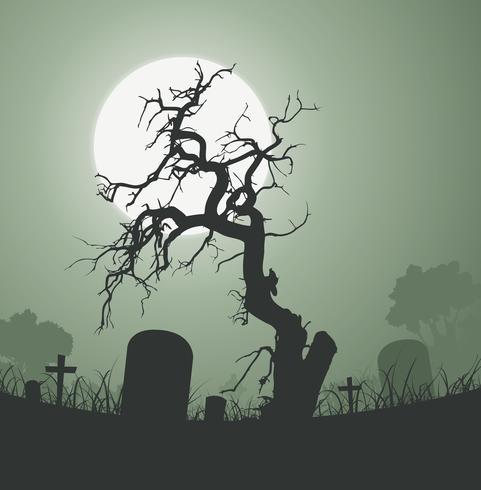 Halloween arbre mort fantasmagorique dans le cimetière vecteur