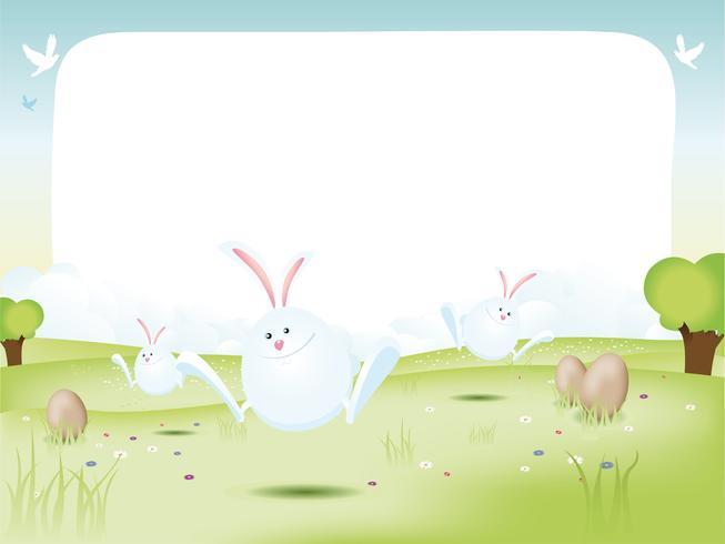 Lapins De Pâques Avec Des Oeufs vecteur