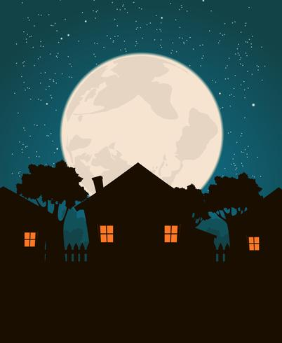 Maisons au clair de lune vecteur