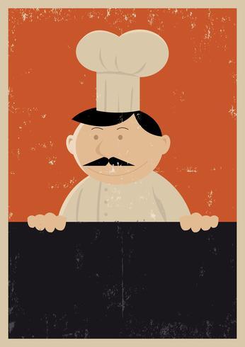 Affiche du menu du chef grunge vecteur