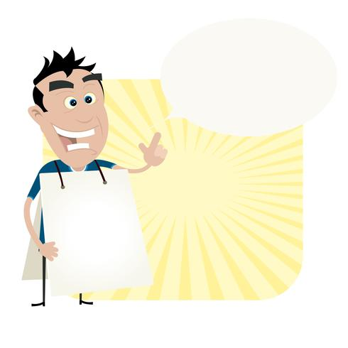 Jeune homme tenant un panneau sandwich vecteur