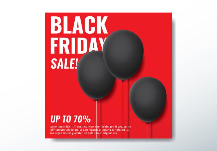 Bannière Black Friday Balloon vecteur