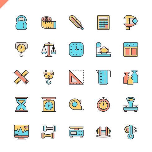 Ligne plate de mesure, icônes d'éléments de mesure définies pour le site Web et site mobile et les applications. Esquisser la conception des icônes. 48x48 Pixel Parfait. Pack de pictogrammes linéaires. Illustration vectorielle vecteur