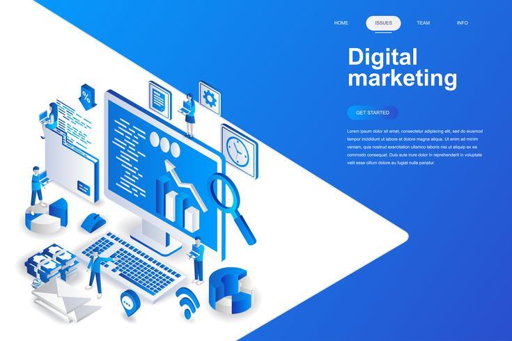 Concept isométrique de design plat moderne marketing numérique. Concept de publicité et de personnes. Modèle de page de destination. Illustration vectorielle isométrique conceptuel pour le web et le graphisme. vecteur