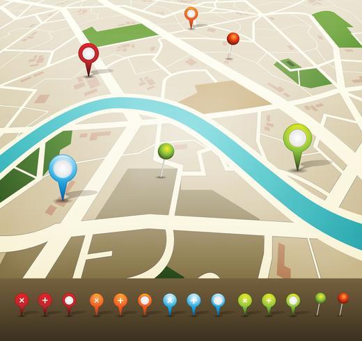 Plan de ville avec icônes de pins GPS vecteur