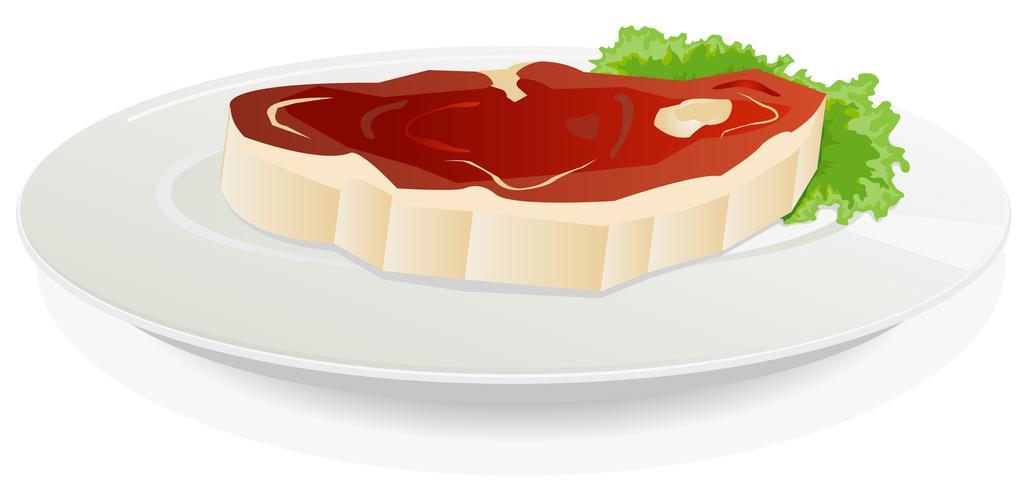 Morceau de viande crue dans un plat avec salade vecteur