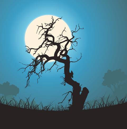 Silhouette d'arbre mort au clair de lune vecteur