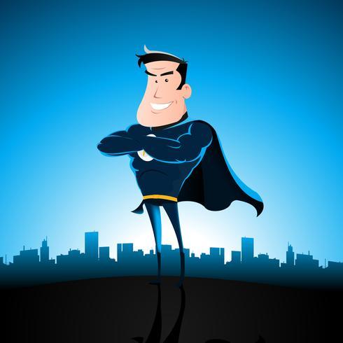 Dessin animé bleu super-héros vecteur