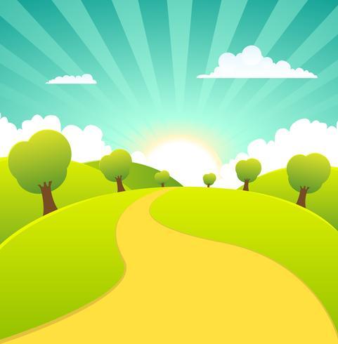 Paysage rural de saisons printanières ou estivales vecteur