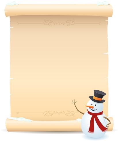 Bonhomme de neige et signe de parchemin vecteur