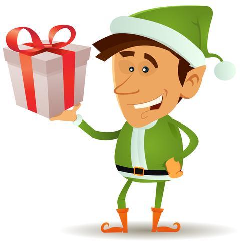 Cadeau de tenue de lutin de Noël vecteur