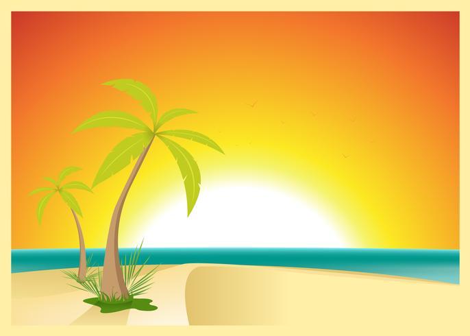 Carte postale exotique de plage vecteur