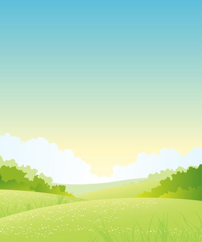 Été ou printemps nature paysage vecteur