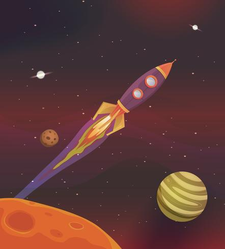 Vaisseau spatial de dessin animé volant dans la galaxie vecteur
