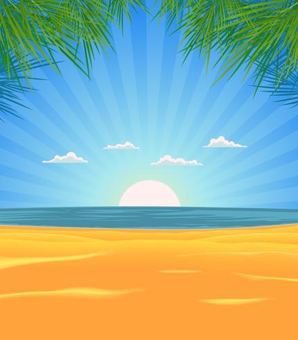 Paysage de plage d'été vecteur