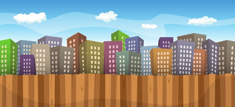 Fond de paysage urbain été ou printemps vecteur